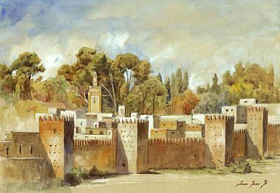 Fes Morocco Orientalist Painting Print by Juan  Bosco