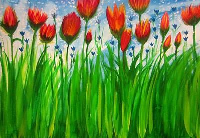 Brown Painting - Field Flowers  by Stephanie Zelaya