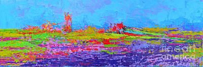 Field Of Flowers Modern Abstract Landscape Painting - Palette Knife Work Original by Patricia Awapara