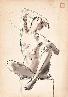 Art Nude Drawing - Figure Study by H James Hoff