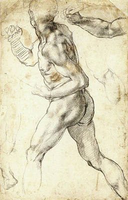 Drawing Drawing - Figure Study Of A Running Man by Michelangelo Buonarroti