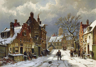 Painting - Figures In The Streets Of A Wintry Dutch Town by Willem Koekkoek