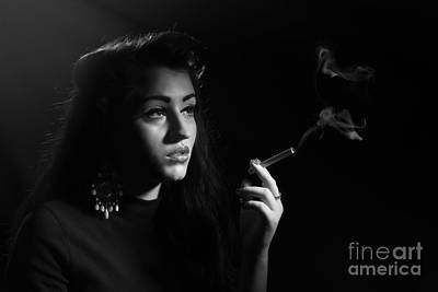 Femme Photograph - Film Noir Smoking Woman by Amanda Elwell