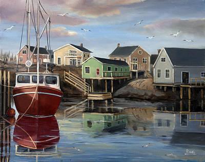 Landscape Painting - Fishing Village by Radoslav Nedelchev