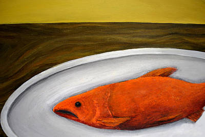 Salmon Painting - Fishy Fish Ll by Michelle Calkins