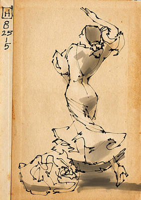Passion Drawing - Flamenco by H James Hoff