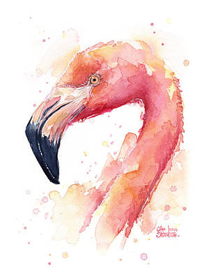 Flamingo Watercolor Print by Olga Shvartsur