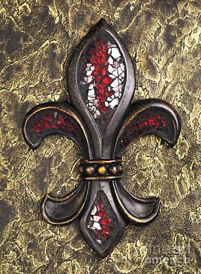Orleans Photograph - red mosaic Fleur-di-lis by Tony Cordoza