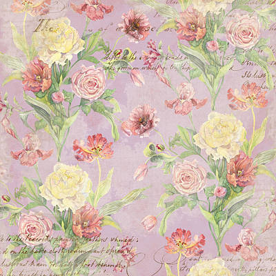 Fleurs De Pivoine - Watercolor In A French Vintage Wallpaper Style Print by Audrey Jeanne Roberts