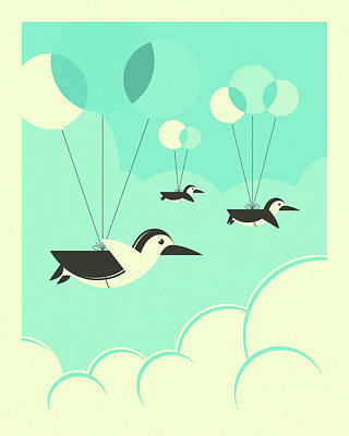 Flock Of Penguins Print by Jazzberry Blue