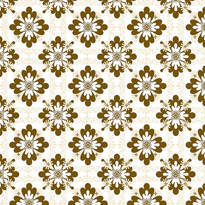 Rollo Digital Art - Taupe Floral Pattern by Christina Rollo