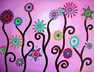 Flower Fest Print by Pristine Cartera Turkus