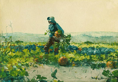 Pumpkins Painting - For To Be A Farmer's Boy by Winslow Homer