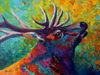 Lake Painting - Forest Echo - Bull Elk by Marion Rose