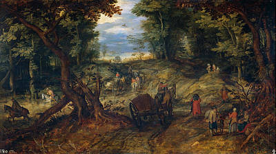 Riding Painting - Forest With A Creek Crossing Wagons And Riders by Jan Brueghel the Elder