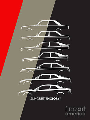 80 Digital Art - Four Ring Coupe Silhouettehistory by Gabor Vida