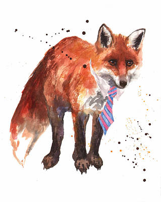 Clothes Painting - Fox Painting by Alison Fennell