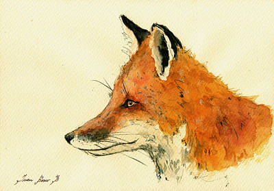 Fox Portrait Head Original by Juan  Bosco
