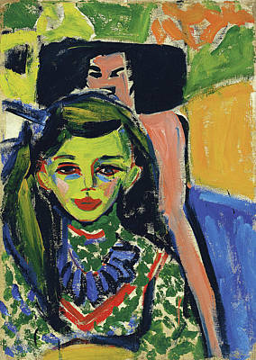 Women Painting - Franzi In Front Of Carved Chair by Ernst Ludwig Kirchner