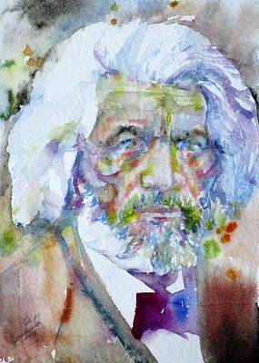 Frederick Douglass - Watercolor Portrait Print by Fabrizio Cassetta