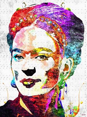 Kahlo Mixed Media - Frida Kahlo Grunge by Daniel Janda