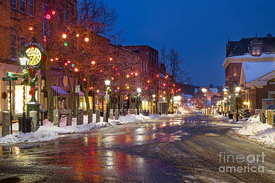 Bailey Island Photograph - Front Street Holiday Lights by Benjamin Williamson