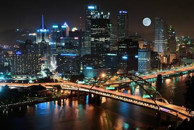 Full Moon Over Pittsburgh Print by Frozen in Time Fine Art Photography