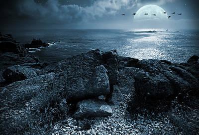 Swans.. Digital Art - Fullmoon Over The Ocean by Jaroslaw Grudzinski
