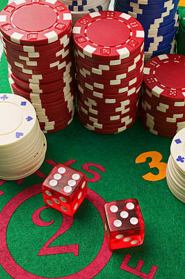 Chip Photograph - Gambling Dice by Garry Gay