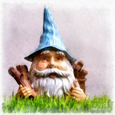 Elusive Painting - Garden Gnome by Edward Fielding