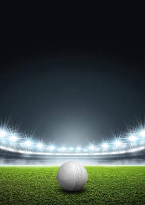 Cricket Digital Art - Generic Floodlit Stadium With Cricket Ball by Allan Swart