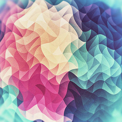Colorful Abstract Digital Art - Geometry Triangle Wave Multicolor Mosaic Pattern  Hdr  Low Poly Art by Philipp Rietz