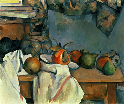Pear Painting - Ginger Pot With Pomegranate And Pears by Paul Cezanne
