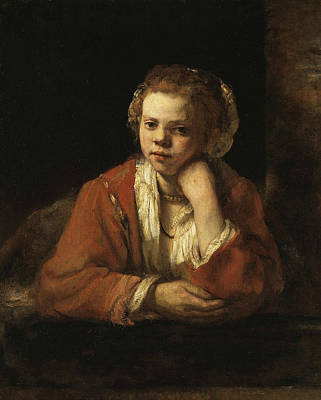 17th Century Painting - Girl At A Window by Rembrandt
