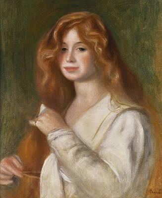 Comb Painting - Girl Combing Her Hair by Pierre Auguste Renoir