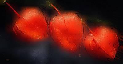 Black Background Mixed Media - Glowing Orange by Gabriella Weninger - David