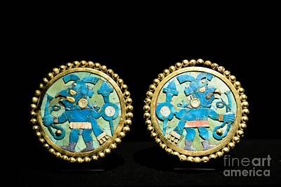 Gold Ear Ornaments, Moche Florescent Print by Tony Camacho