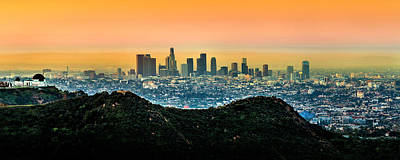 Los Angeles Skyline Photograph - Golden California Sunrise by Az Jackson