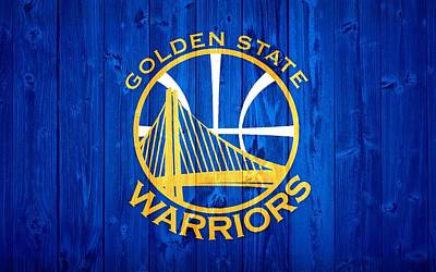 Blue Barn Doors Mixed Media - Golden State Warriors Door by Dan Sproul