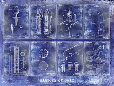 Golf Patent History Drawing Blue Print by Jon Neidert