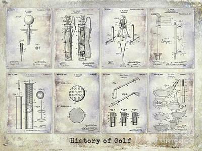 Golf Patent History Drawing Print by Jon Neidert