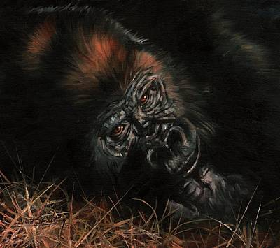 Ape Painting - Gorilla by David Stribbling
