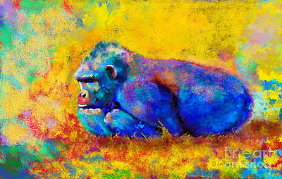 Contemplating Photograph - Gorilla Gorilla by Betty LaRue