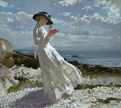 Full Length Painting - Grace Reading At Howth Bay by Sir William Orpen