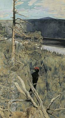 Woodpecker Painting - Great Black Woodpecker by Akseli Gallen-Kallela