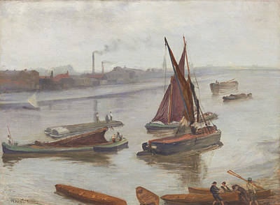 Ship Painting - Grey And Silver - Old Battersea Reach by James Abbott McNeill Whistler