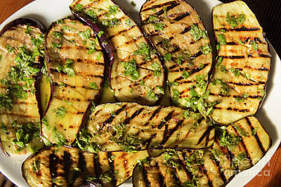Grilled Eggplant With Dressing Print by Patricia Hofmeester