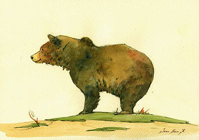 Alaskan Painting - Grizzly Bear Watercolor Painting by Juan  Bosco