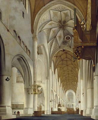 Landscape Painting - Grote Kerk by Pieter Jansz Saenredam
