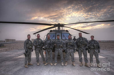 Group Photo Of Uh-60 Black Hawk Pilots Print by Terry Moore